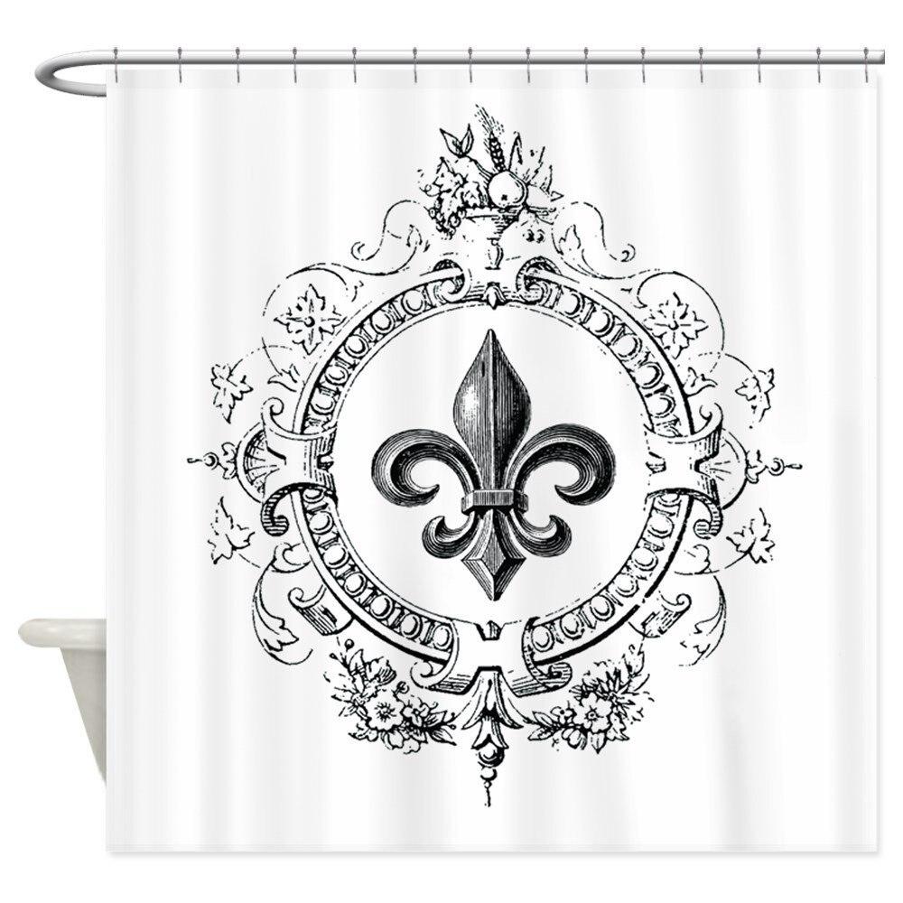 Vintage French Fleur De Lis Decorative Fabric Shower Curtain