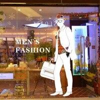 Vêtements Boutique Mur Autocollant Homme Conception Hommes de Mode Lettrage Sticker Magasin de Vêtements Sac À Main Boutique Mur Autocollant Chambre Décoration