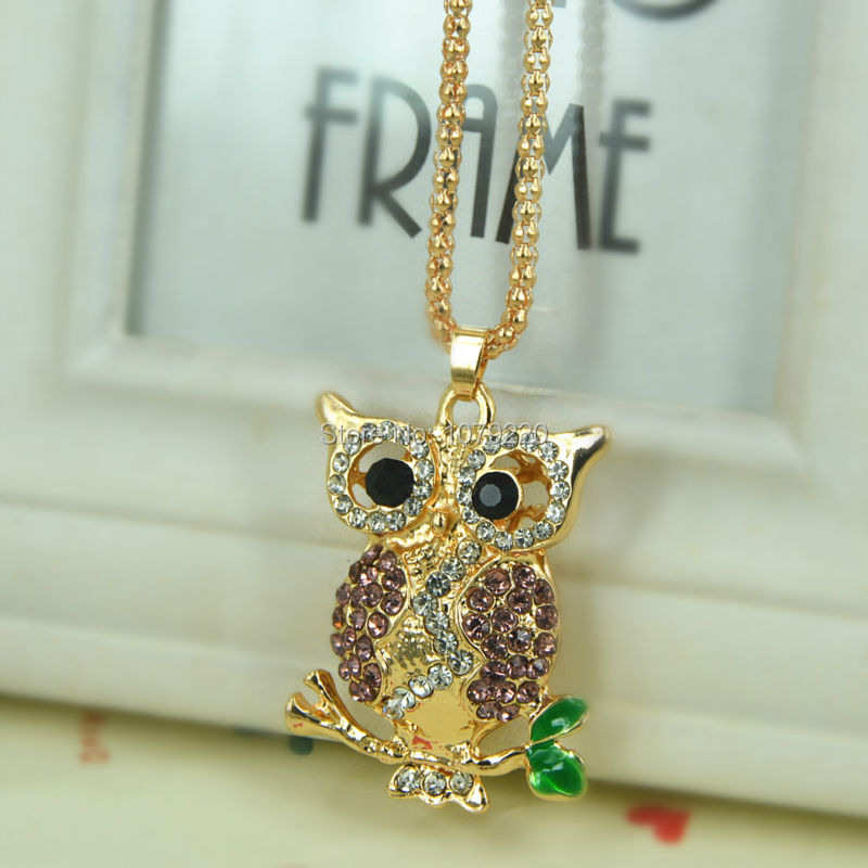 New Owl Sweater Bead Necklace Jewelry Crystal Women Long Necklace Pendants Rhinestone Chain Christmas Valentines Lover Gift