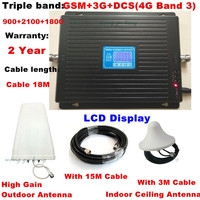 2G 3G 4G GSM 900 3G 2100 LTE 4G 1800 Tri Band Mobile Phone Signal Repeater Signal Booster Amplifier 4G LTE Antenna + 18M Cable