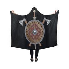 Hooded Blanket Viking Axe Sword End Shield Pilling Polar Fleece Throw Wrap