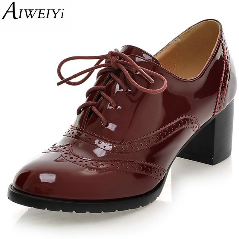 AIWEIYi High Heel Shoes Woman Ladies Oxfords Shoes Women Spring Women Pumps Shoes Soft PU Leather Women High Heels Casual Shoes ladies casual platform wedges oxford shoes for women metallic pu cut outs women high heels summer brogue oxfords shoes woman