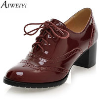 Lace Up Platform Pumps Shoes Oxfords Shoes Women Spring Fall Women Pumps Shoes Soft PU Leather
