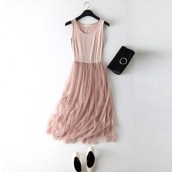 2018 New Sexy Spaghetti Strap Patchwork Mesh Dress Spring Summer Women Gauze Lace Tank Dress Basic Sundress Party Vestidos