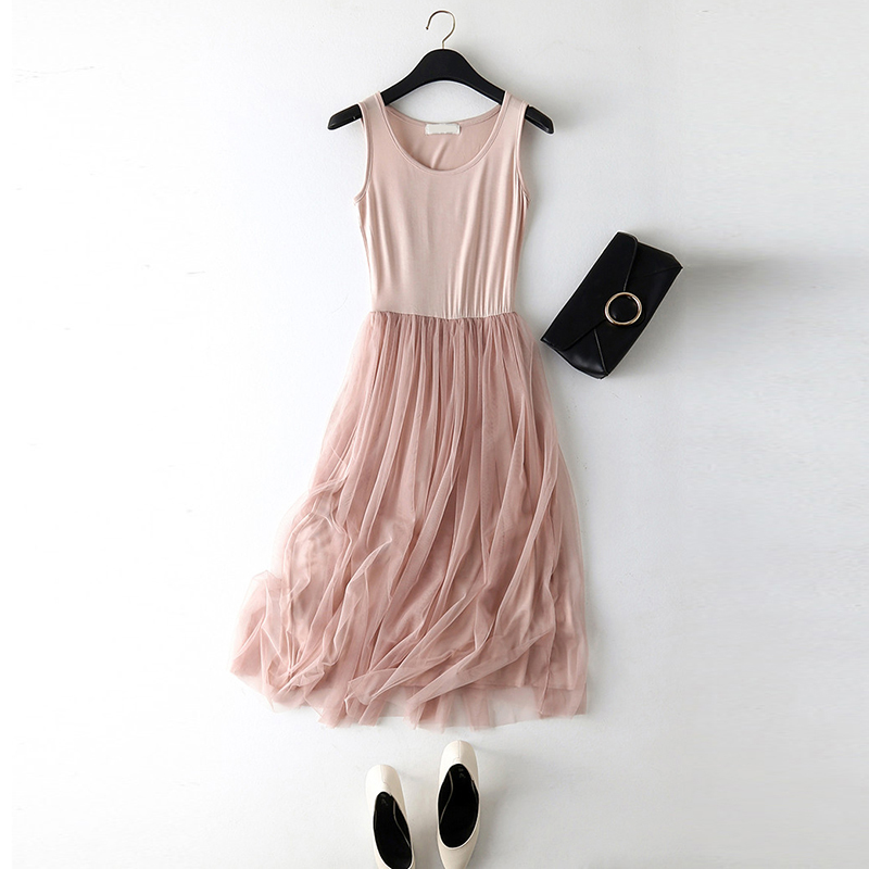 2018 New Sexy Spaghetti Strap Patchwork Mesh Dress Spring Summer Women Gauze Lace Tank Dress Basic Sundress Party Vestidos