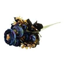 1 Bouquet 9 head Artificial Silk cloth Fake Flowers Leaf Peony Floral Home Wedding Party Decor Blue