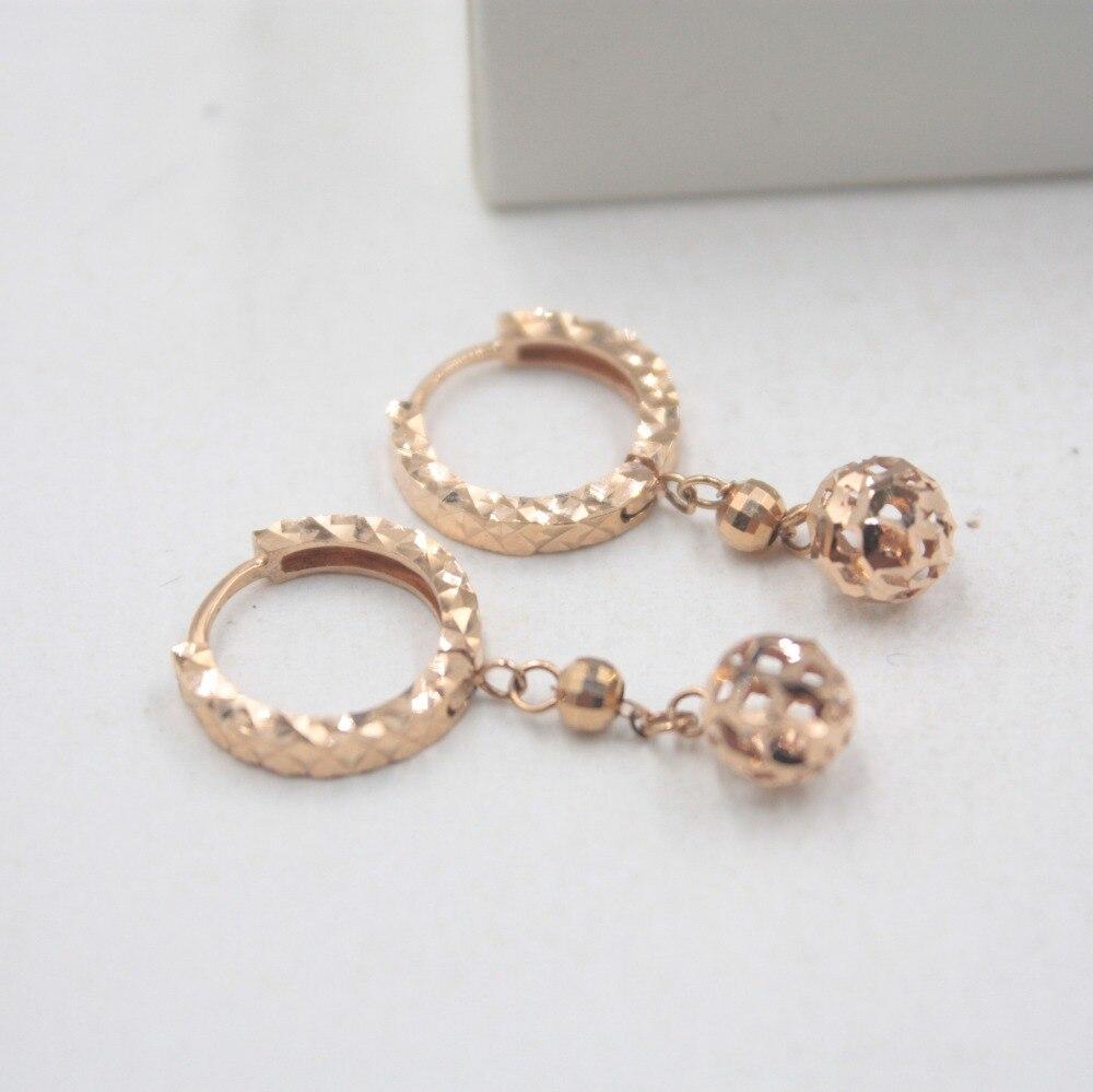 Pur 18 K or Rose sculpté petites boucles d'oreilles personnalisé balle cadeau mignon boucles d'oreilles 2-2.2g tous les jours bijoux creux - 4