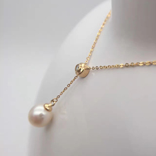 18k Au750 Gold Inlay 0.023ct Real Diamond With 9mm Natural Pearls Y Style Necklace