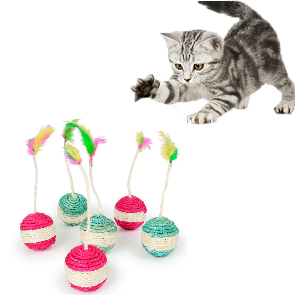 Pet Cat Kitten Toy Rolling Sisal Scratching ball Funny Cat Kitten Play Dolls Tumbler Ball Pet Cat Toys Interactive Feather Toy