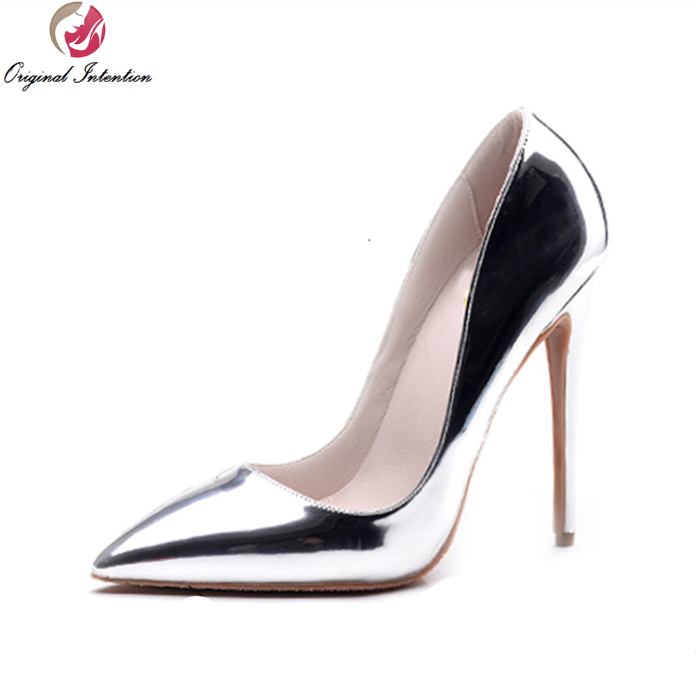 ФОТО Original Intention Popular Women Pumps Pointed Toe Thin Heels Pumps High-quality Gold Silver Shoes Woman Plus US Size 3.5-10.5