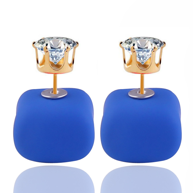 14 Colors New Arrival Candy Colors Rubber Double Sides Pearl Earrings Cute Square Crown Crystal Double
