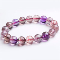 11mm Genuine Natural Super Seven 7 Melody Stone Stretch Bracelet For Women Femme Charm Round Crystal Bead Bracelet Just One Gift
