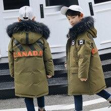 Teens Boy Winter Long Down Coat Real Fur Dyed in
