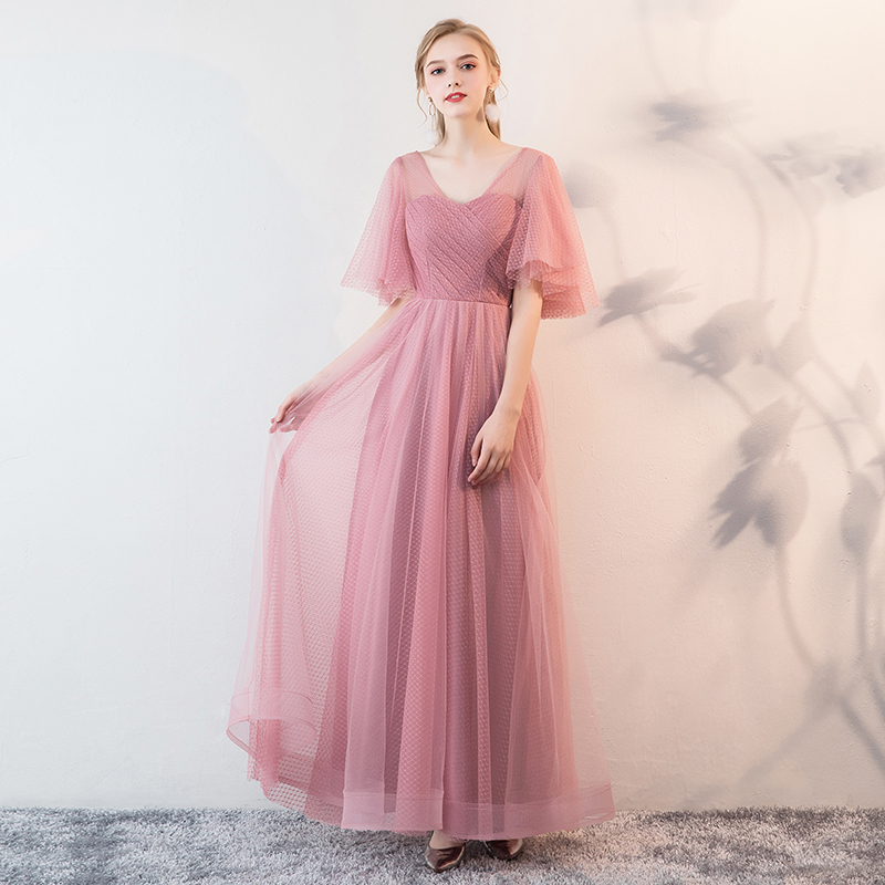 Beauty Emily Dark Pink Bridesmaid Dresses 2019 Bride Elegant Dress Women For Wedding Party Special Occasion Wedding Guest Dress