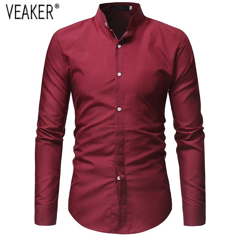 Hot Sale Mens Spring Chinese Long Sleeve V Collar Cotton Linen Button Shirts