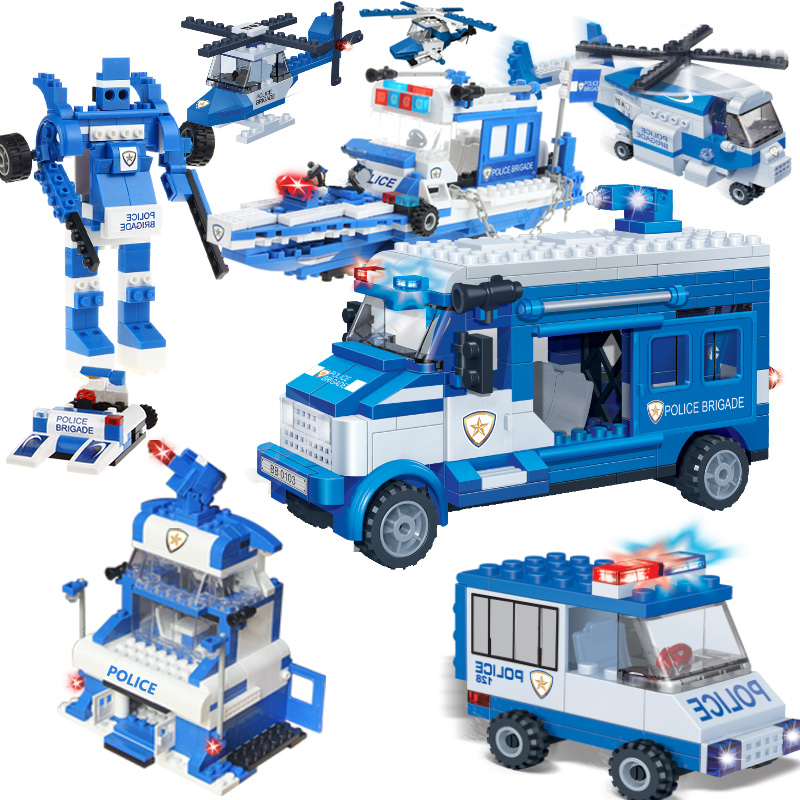 395PCS Police Motorcycle Car Boat Building Blocks City Policeman Model Bricks Educational Learning Toys For Children