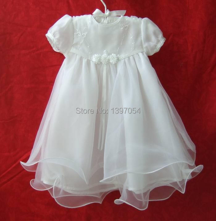 Newborn White Polyester Cotton Baby Baptism Dress Baby