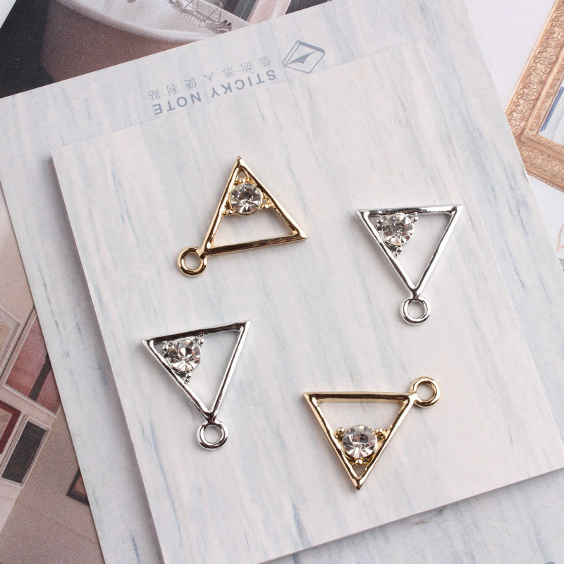 20piece Fashion Silver Gold Color Charms 18mm Triangle Shape With Rhinestone Charm Pendants For Jewelry Handmade