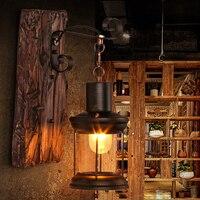 Led e27 로프트 산업 철 나무 유리 led 램프 led 빛 벽 램프 벽 빛 벽 sconce 바 저장소 로비 침실