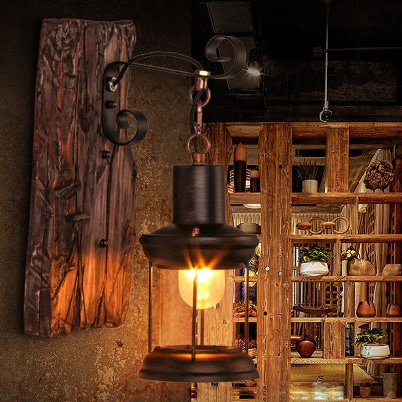 led e27 Loft Průmyslové železo Dřevo Skleněné LED lampy LED světlo Nástěnné svítidlo Nástěnné svítidlo Nástěnné nástěnné svítidlo pro barový obchod Foyer Ložnice