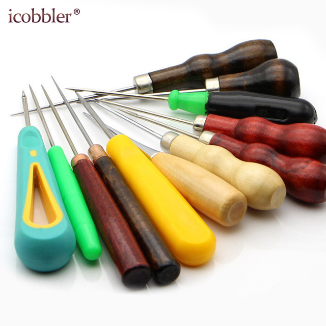 Leather Stitching Sewing Awl Repair Tool, Wood Handle Repair Drillable Round Solid Tools for Craft Shoes Bags with Hook Hole Awl