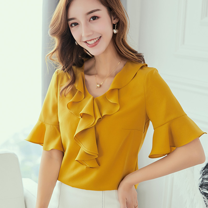 2019 Spring Summer Top Women Shirts New Korean Large Size Fashion Shirt Blusas Slim Ruffles Blouse White Yellow Chiffon Blouses