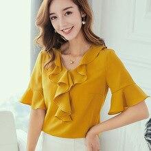 2019 Spring Summer Top Women Shirts New Korean Large Size Fashion Shirt Blusas Slim Ruffles Blouse White Yellow Chiffon Blouses