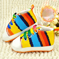 Winter fashion thermal Rainbow canvas scarpe bambini high quality Thicken add wool baby first walker shoes bebek ayakkabi