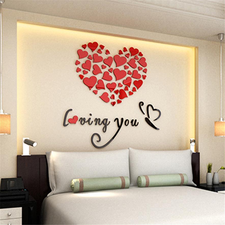 Romantic diy art 3d acrylic love heart wall sticker bedroom living room wedding decoration wall - Heart wall decoration ...