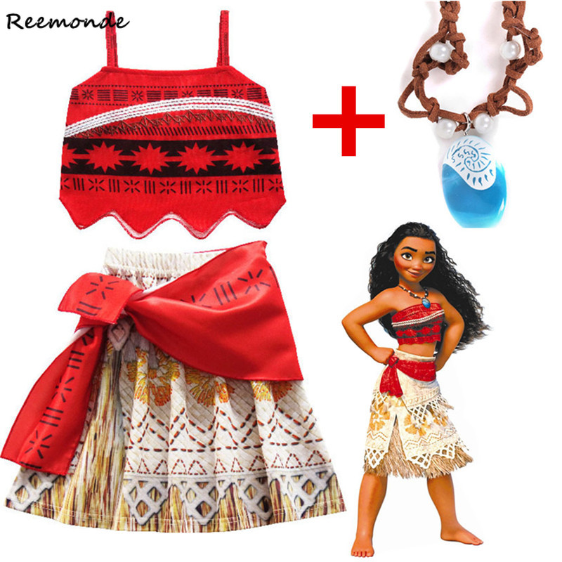 Movie Moana Princess Cosplay Costume For Children Shirt Skirt Necklace Full Set Halloween Costumes Kids Girl Fancy Dress Clothes
