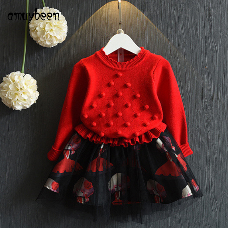 Amuybeen Girls Clothing Girls Dress Winter 2017 New Autumn Kids Dresses Long Sleeve Sweater Baby Girl Clothes Princess Dress 3-7 детские малыш малыш harness вышибала перемычка learn to walk moon walker assistant