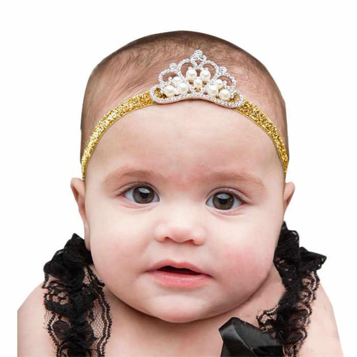 高級 Baby Girl ヘッドバンドクラウンヘアバンド王女子供クリスタルパールクラウンヘアバンド子供ヘッド磨耗誕生日プレゼント