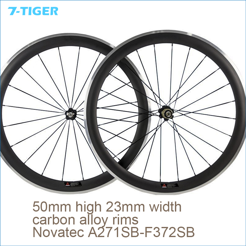 700c Aluminum Bicycle Wheelsets Carbon Clincher Wheel Alloy Bike Wheel 50mm high 23mm width  with Novatec Hub 50mm clincher carbon bike wheel 25mm width bicycle wheel set novatec light weight hub 700c wheel set