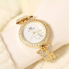 BS Diamonds Girls Costume Watch Extremely Skinny Case Strap Luxurious Gold Bracelet Wristwatch Silver Girls Style Quartz Watch Clock