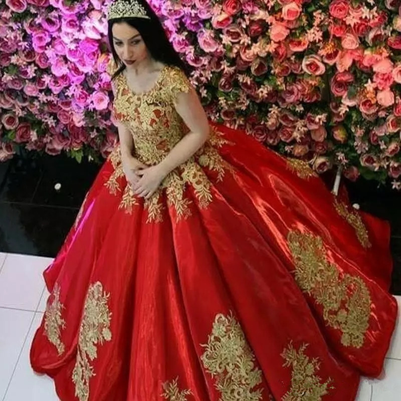 Us 195 98 18 Off Red With Gold Appliques Ball Gown Quinceanera Dresses Cap Sleeves Long Women Quinceanera Gowns Sweet 15 Vestidos De Fiesta In