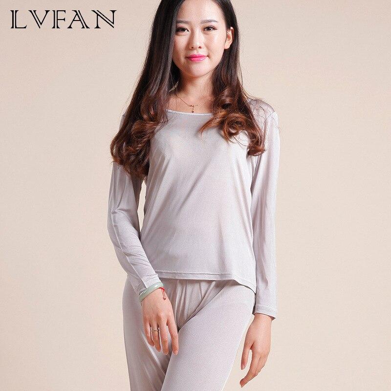 Natural Silk Ladies Autumn Clothes Thermal Top Long Pants Underwear Set Long Sleeve Bottoming Shirt Leggings