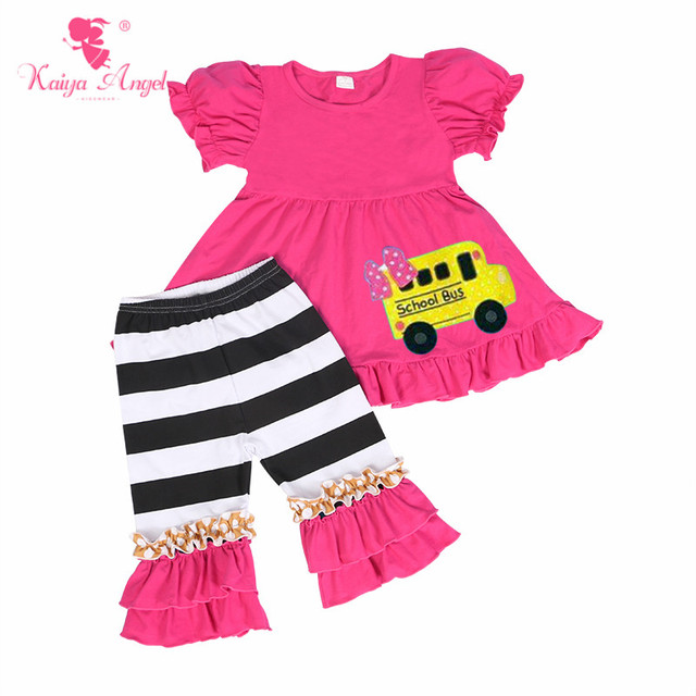 b47d9f18a868 Kaiya Angel 2018 Toddler Girls Summer Back to School Clothes Watermelon  Cotton School Bus Boutique kids Set Factory Wholesale