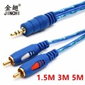 JINCHI 1.5/3/5M 3.5mm Male Jack To 2RCA Male Stereo Audio Cable One To Two AUX Audio Cable For Computer DVD Audio Devices