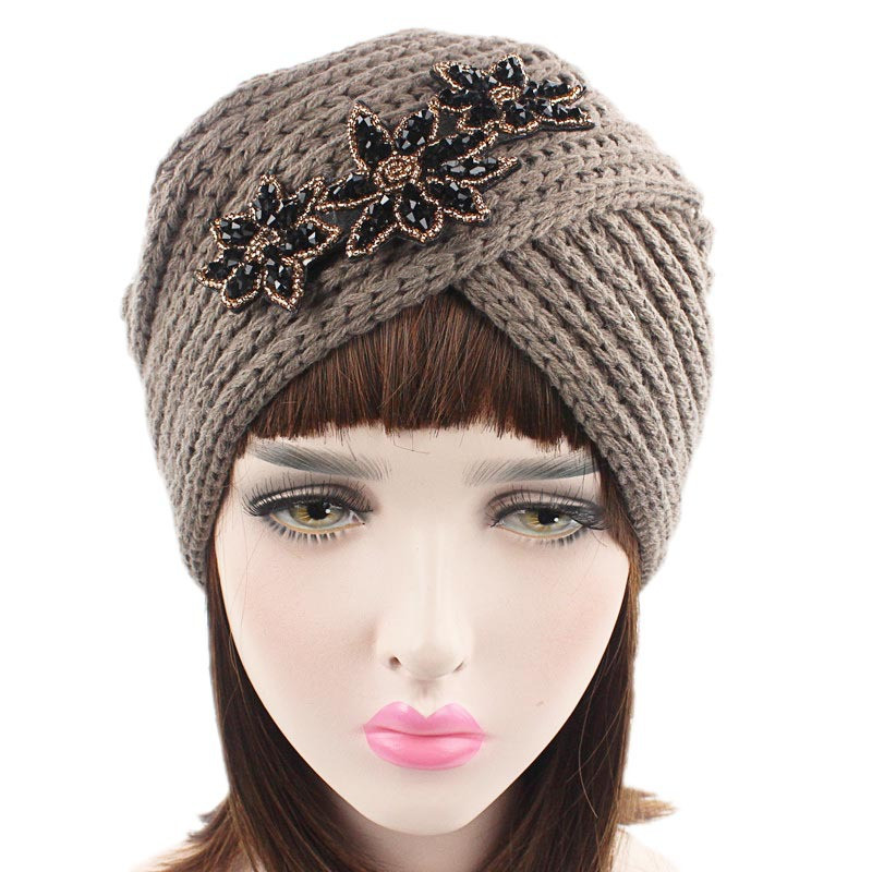 Muslim Winter Hat Warm Knit Wool Print Flower Cap Beanie Sleep Chemo Turban   Headwear   Cancer Patients Hair Accessories