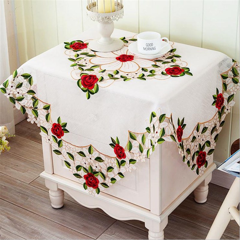 Wit 85x85cm luxurious europe polyester tablecloth square for 85 square tablecloth