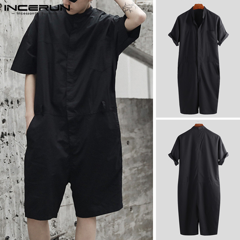 INCERUN Men Rompers Stylish Cargo Overalls Solid Pants Punk Style Streetwear Loose Men Couple Jumpsuit Shortsleeve Playsuit 2020