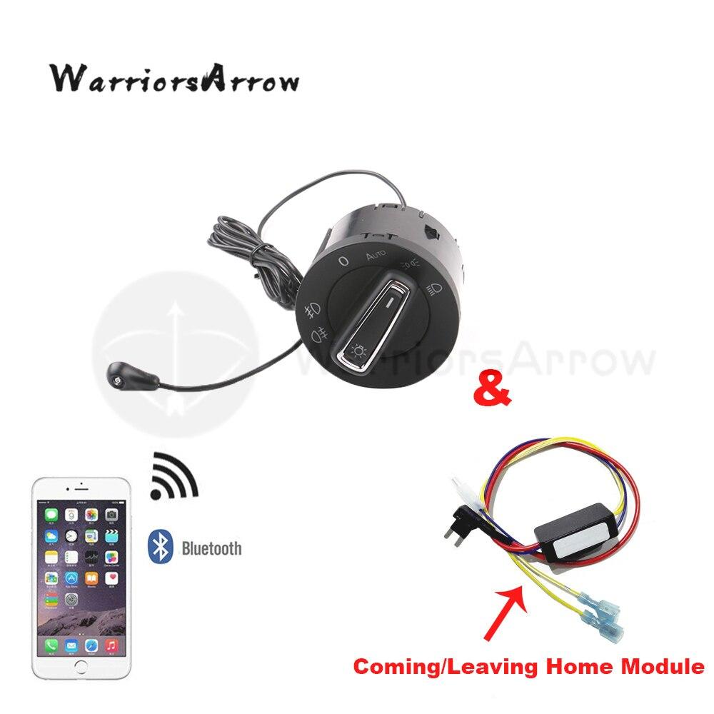 WarriorsArrow AUTO Headlight Switch Light Sensor Coming Leaving Home Module Set For VW Golf MK7 7