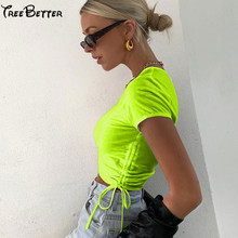 Neon Green Ruched Drawstring Solid Tshirt Casual Tee Cropped Tops T-shirt for Wome Summer 2019 Sexy Club Streetwear