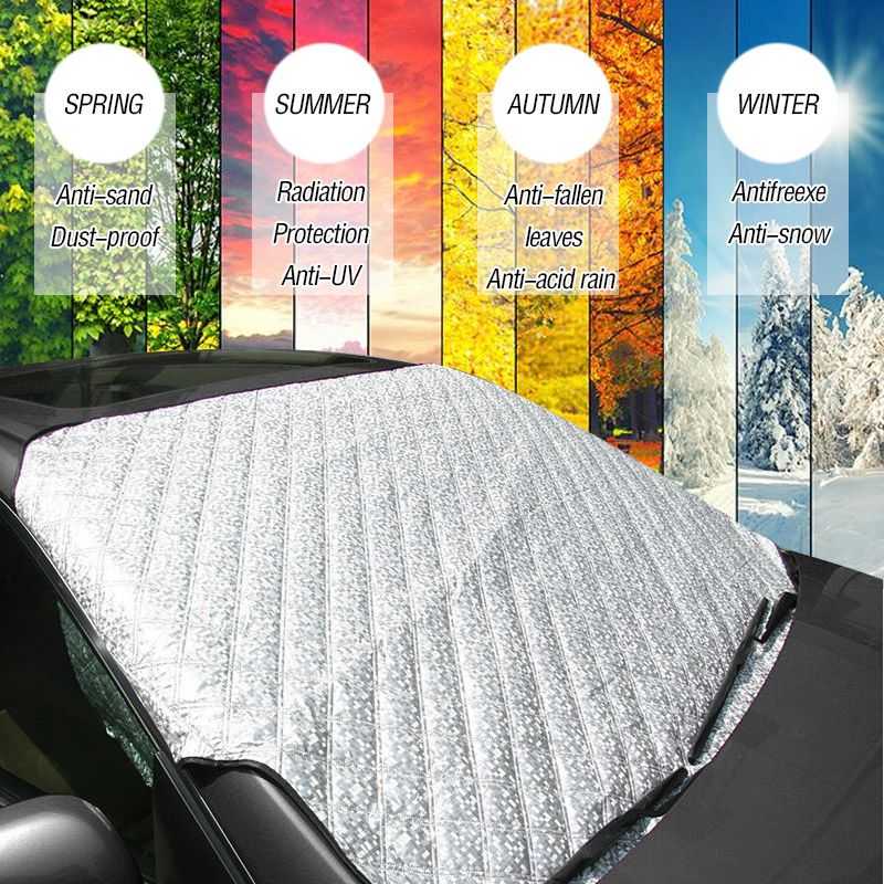 Mayitr Universal 4 seasons Car Front Windshield Anti Snow Ice Shield Cover Frost Protector Front Window Screen Auto Sun Cover auto car windscreen snow ice frost windshield roof covers protector 610025