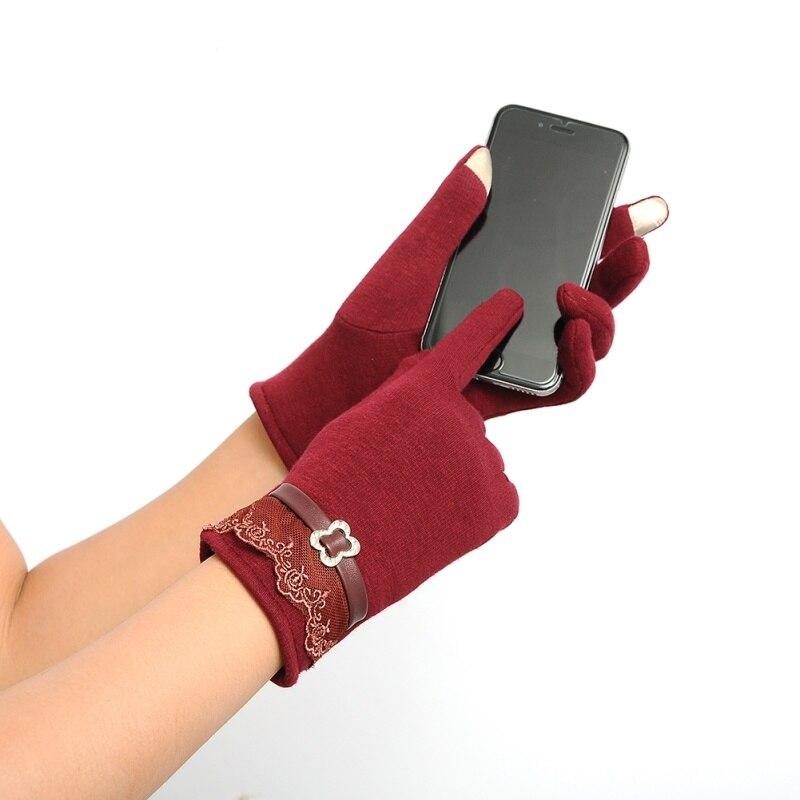 Winter Warm Women Full Finger Gloves Knit Wrist-Gloves Cotton Vintage Lace Mittens