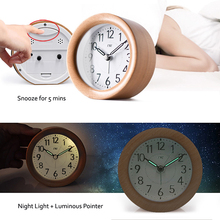 Wooden Desktop Snooze Alarm Clock Backlight Silent Non Ticking Bedside Kids Room Student Table Clock цена в Москве и Питере