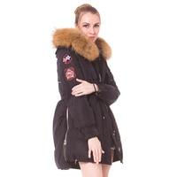 2018 Women Winter Jackets And Coat Long White Duck Down Parka Winter Jacket Women Real Raccoon Fur Hooded Warm Slim Female Coat
