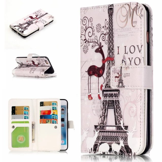 For iphone6s 6plus 5s se deer+tower Pattern PU Leather Stand Wallet Flip Cover case for iphone 7 7 plus with 9 Card Slots