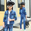 Latest Designs Beaded Embroidery Denim Jacket Jeans Two Pcs Set American Country School 4 to 13 Year Old Cute Girl Outfits