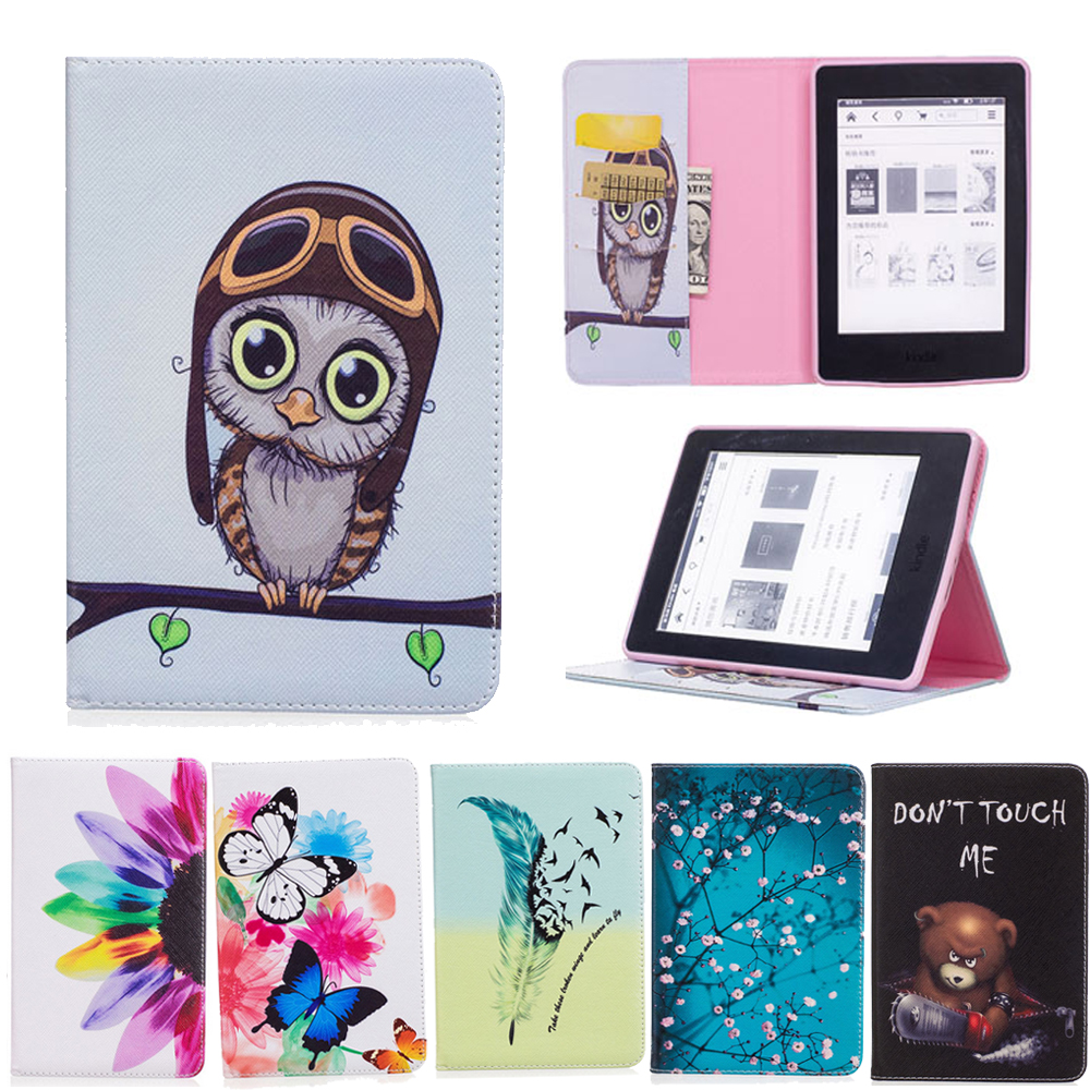 Cartoon Painted Flower Owl For Kindle Paperwhite 1 2 3 Case Flip Bracket Stand PU Cover For Amazon Kindle Paperwhite 1 2 3 Case pink marble grain magnet pu flip cover for amazon kindle paperwhite 1 2 3 449 558 case 6 inch ebook tablet case leather case